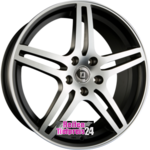 DIEWE WHEELS CHINQUE NERO MACHINED - Schwarz Matt Frontpoliert Einteilig 7.00 x 17 ET 38.00 5 x 100.00